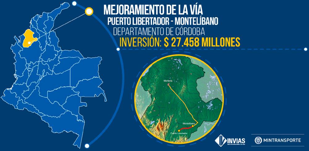 Adjudicado contrato para mejoramiento de la vía Puerto Libertador-Montelíbano, Córdoba
