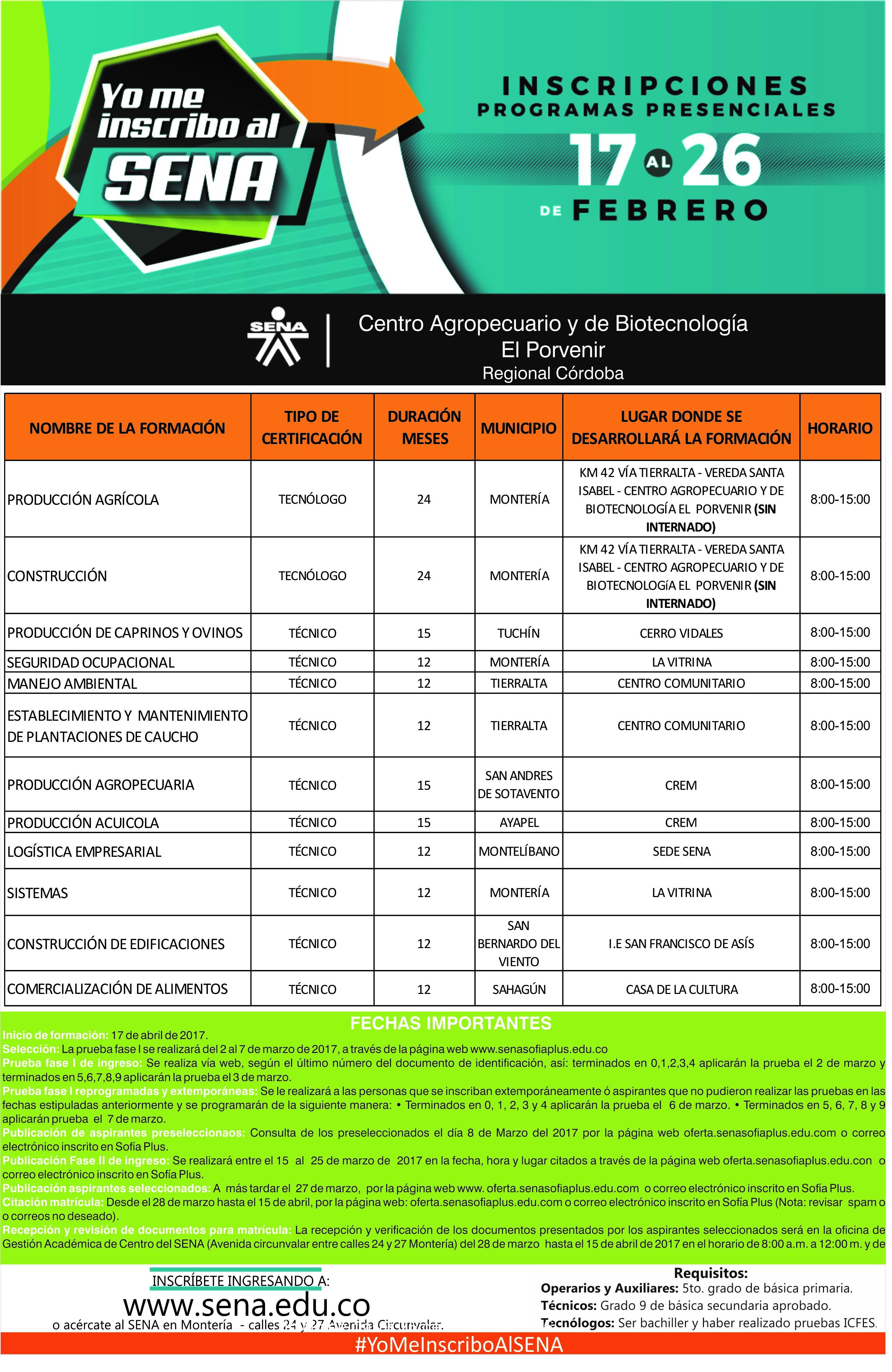 Inscripciones oferta Educativa SENA 2017