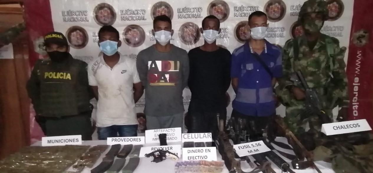 En San José de Uré fueron capturados cuatro integrantes del Grupo Armado Organizado Clan del Golfo