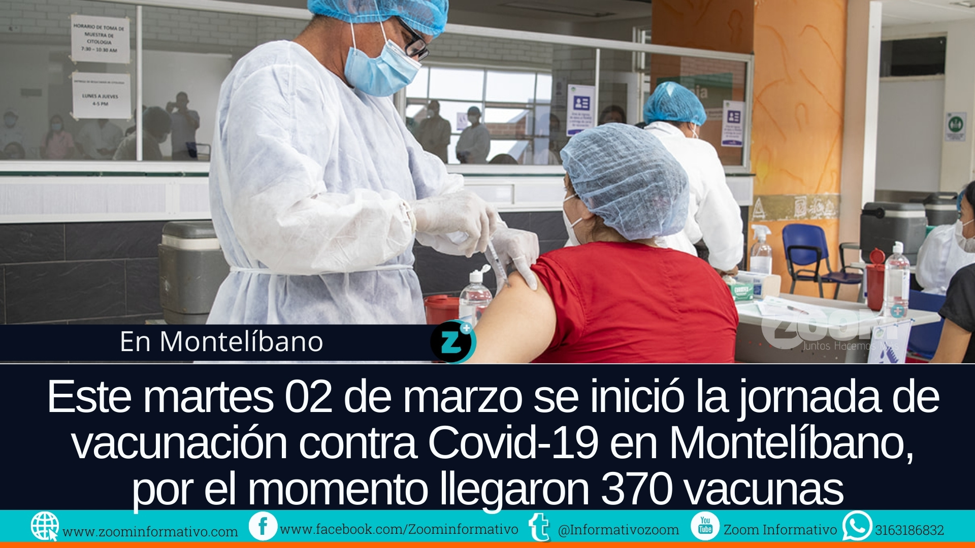 Auxiliar de enfermería primera persona vacunada contra Covid-19 en Montelíbano