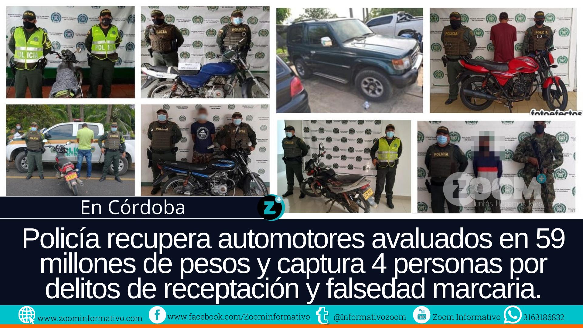 Policía recupera automotores avaluados en 59 millones de pesos en Córdoba